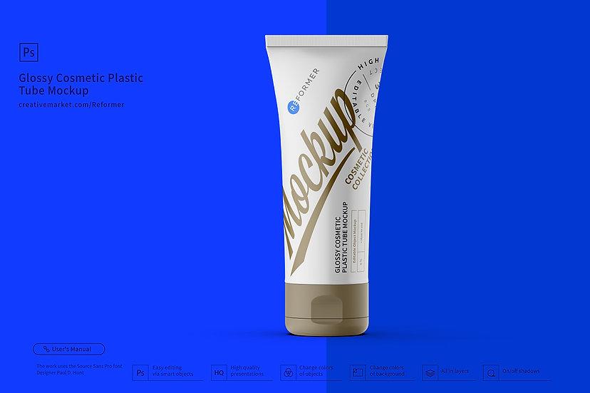 Glossy Cosmetic Plastic Tube Mockup