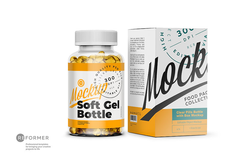 Clear Soft Gel Bottle with Box Mockup