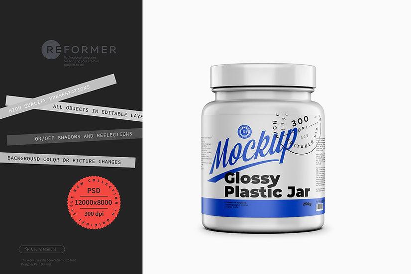 Glossy Protein Jar Mockup 250g