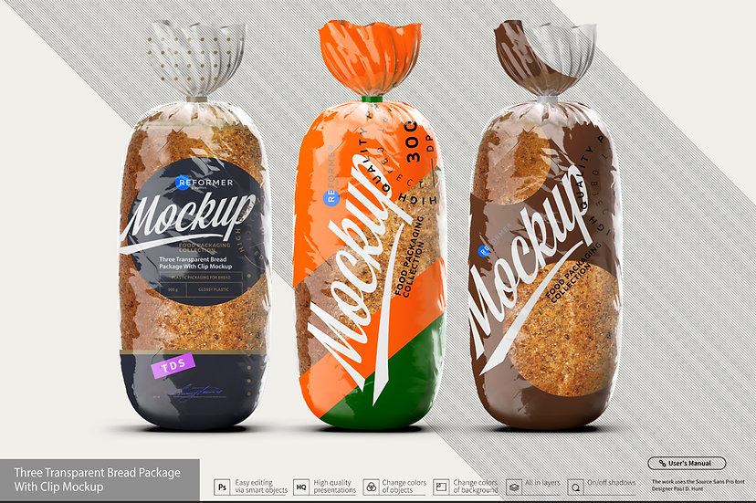 Three Transparent Bread Package with Clip Mockup