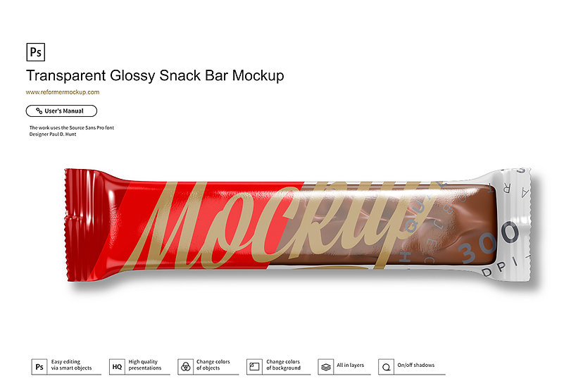 Transparent Glossy Snack Bar Mockup