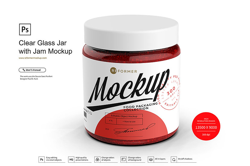 Clear Glass Jar with Jam Mockup