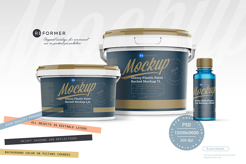 Presentation of Paint and Varnish Products Packaging Mockup
