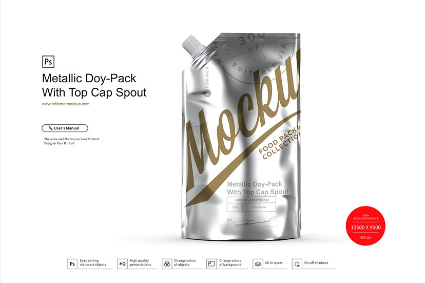 Metallic  Doy-Pack With Top Cap Spout