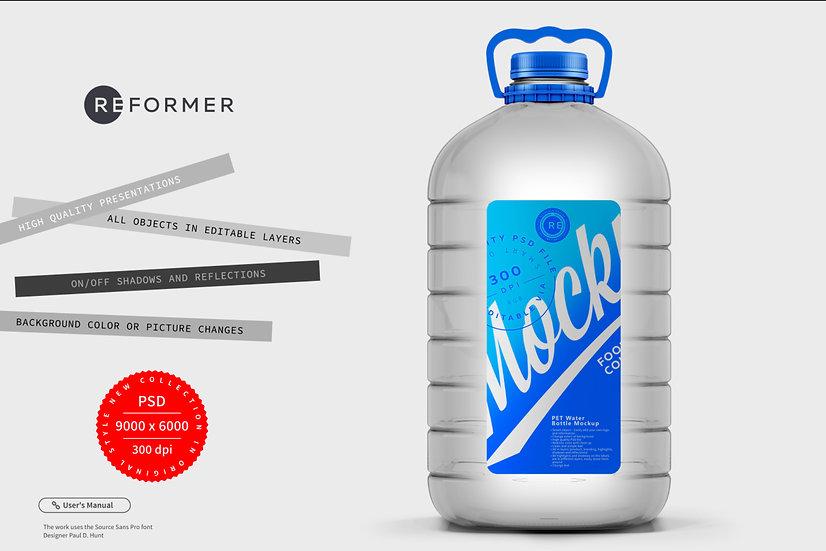 Clear PET Water Bottle Mockup 5L