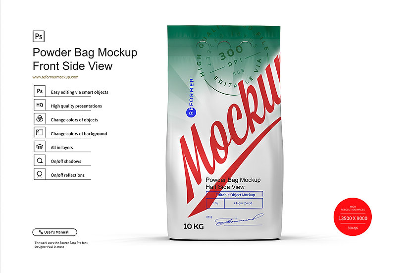 10kg Powder Bag Mockup Front Side View
