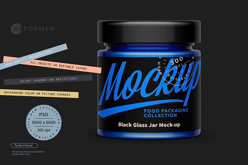 Black Glass Jar Mock-up