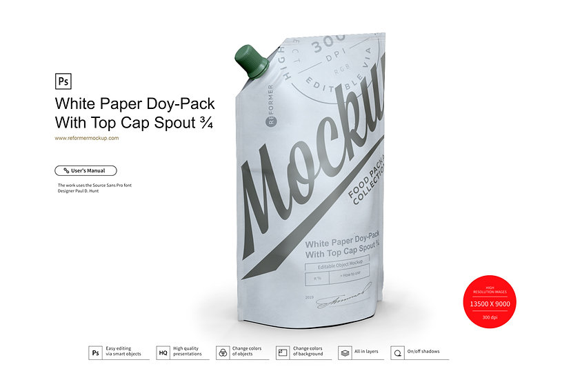 White Paper Doy-Pack With Top Cap Spout ¾ Mockup
