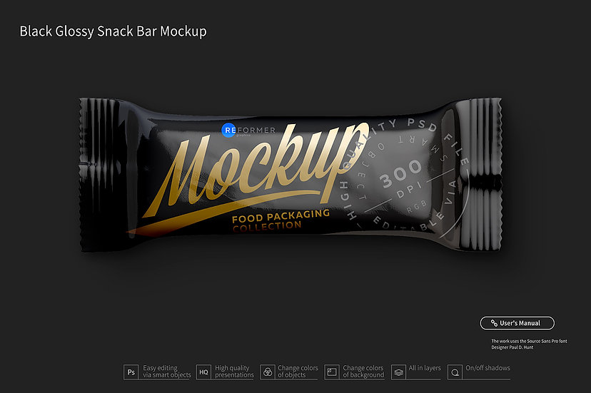 Black Glossy Snack Bar Mockup