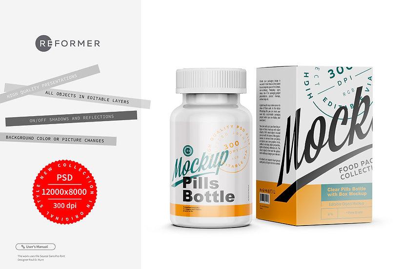 Pills Bottle with Box Mockup