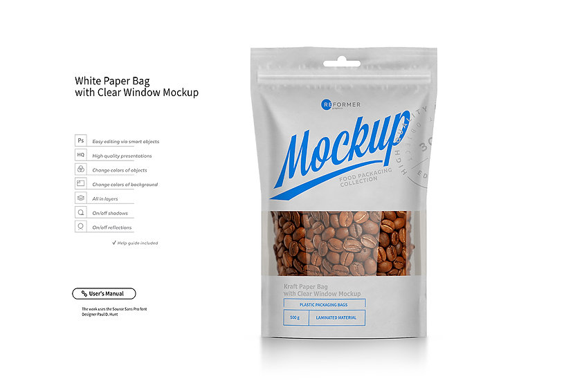 White Paper Bag Stand Up Pouch Doypack with Clear Window Mockup