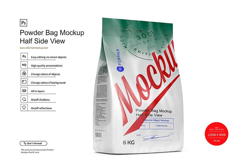 6kg Powder Bag Mockup Half Side View
