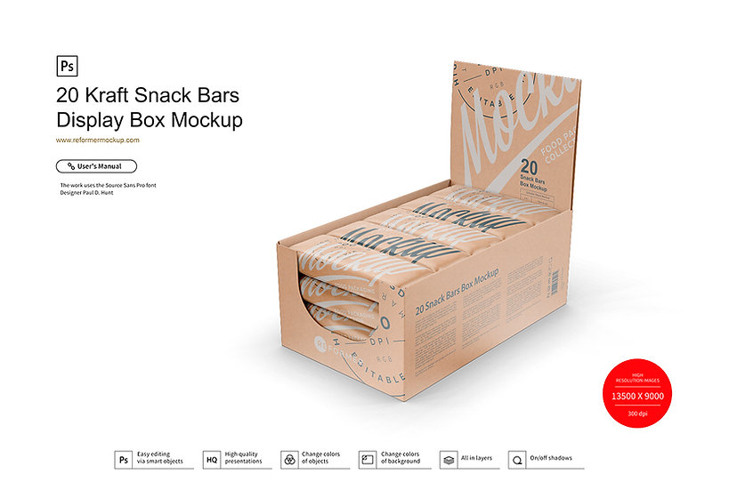 20 Kraft Snack Bars Display Box Mockup