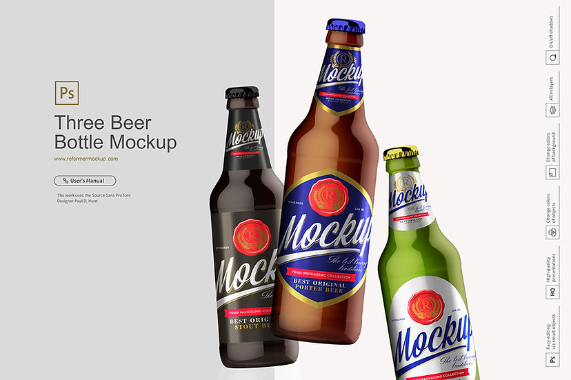 Three Beer Bottle Mockup