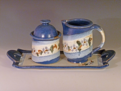 Blue Flower Cream and Sugar set with tray