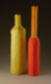 Texture Bottles, orange, red, chartreuse