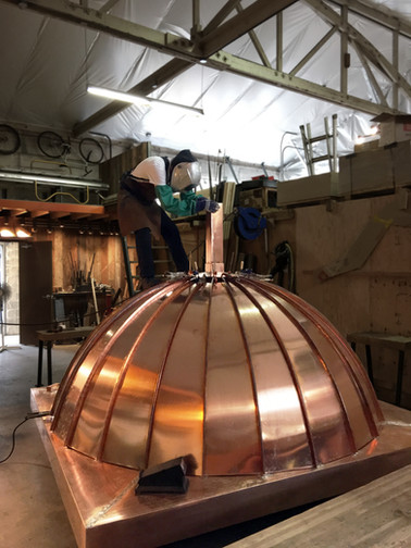 Dome Roof with Copper Panels in Progress