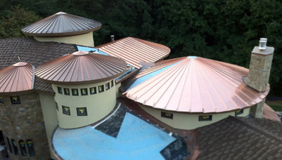 Multiple Copper Turret Roofs