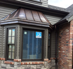Copper Awning and Half Round Gutters