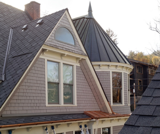 Copper Turret Roof and Copper Gutters