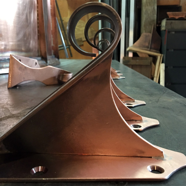 Custom Made 1/8 Inch Copper Hooks for a Wisteria Support Rod