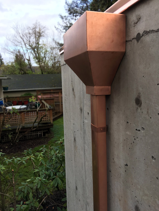 Copper Scupper Box with Downspout