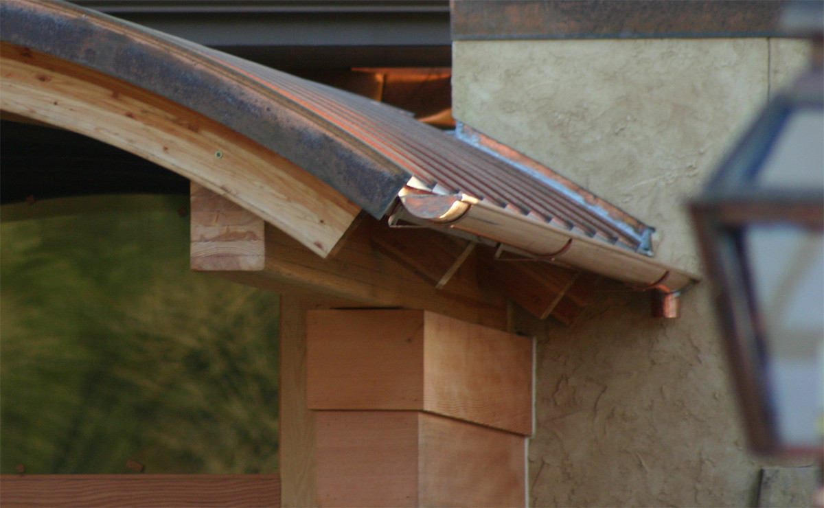 Radius Copper Roofing with Copper Half Round Gutters