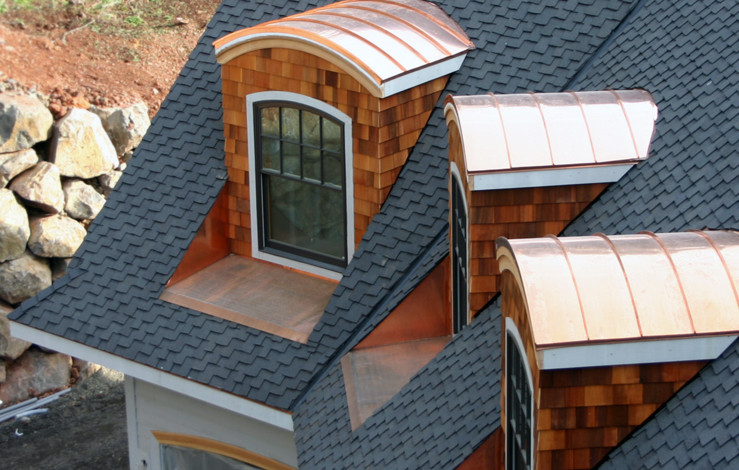 Copper Barrel Roofs with Deep Window Pans