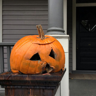 Pumpkin on Copper Porch Pillar Cap