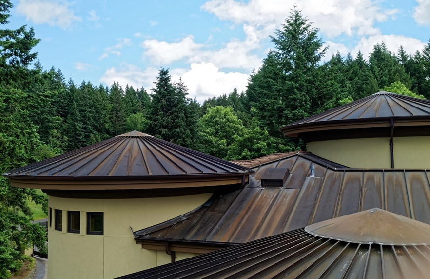 Copper Turret Roofs with Aged Patina