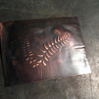 Hand Hammered Fern Print in Copper