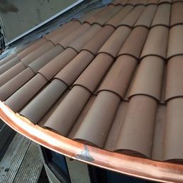 installed copper radius half round gutter