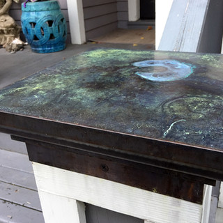Copper Porch Pillar Cap and Patina