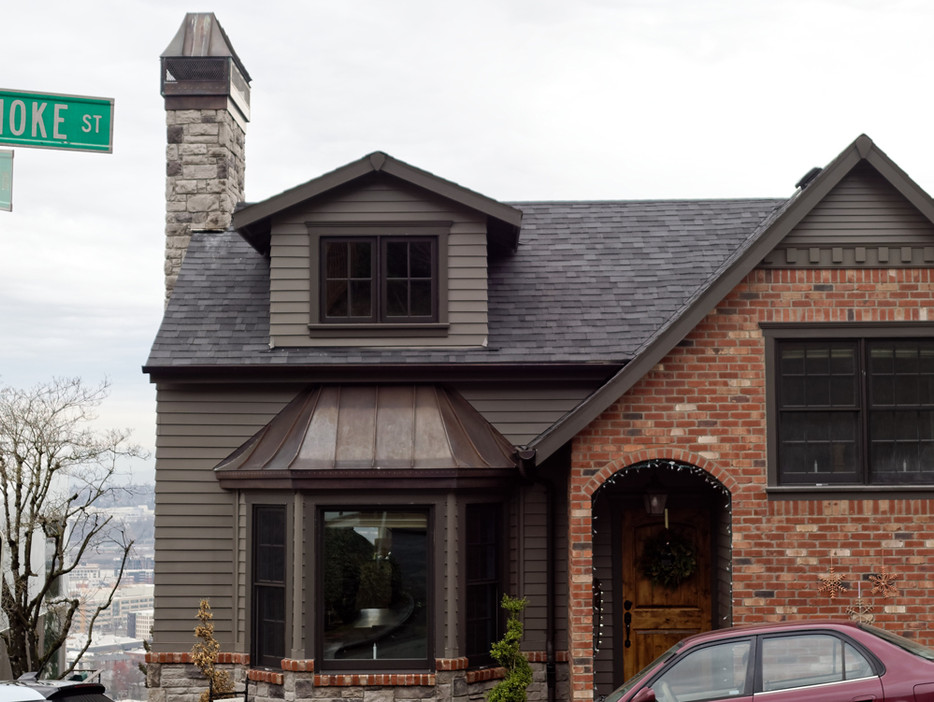 Copper Bay Window Roof, Chimney Cap, and Half Round Gutters