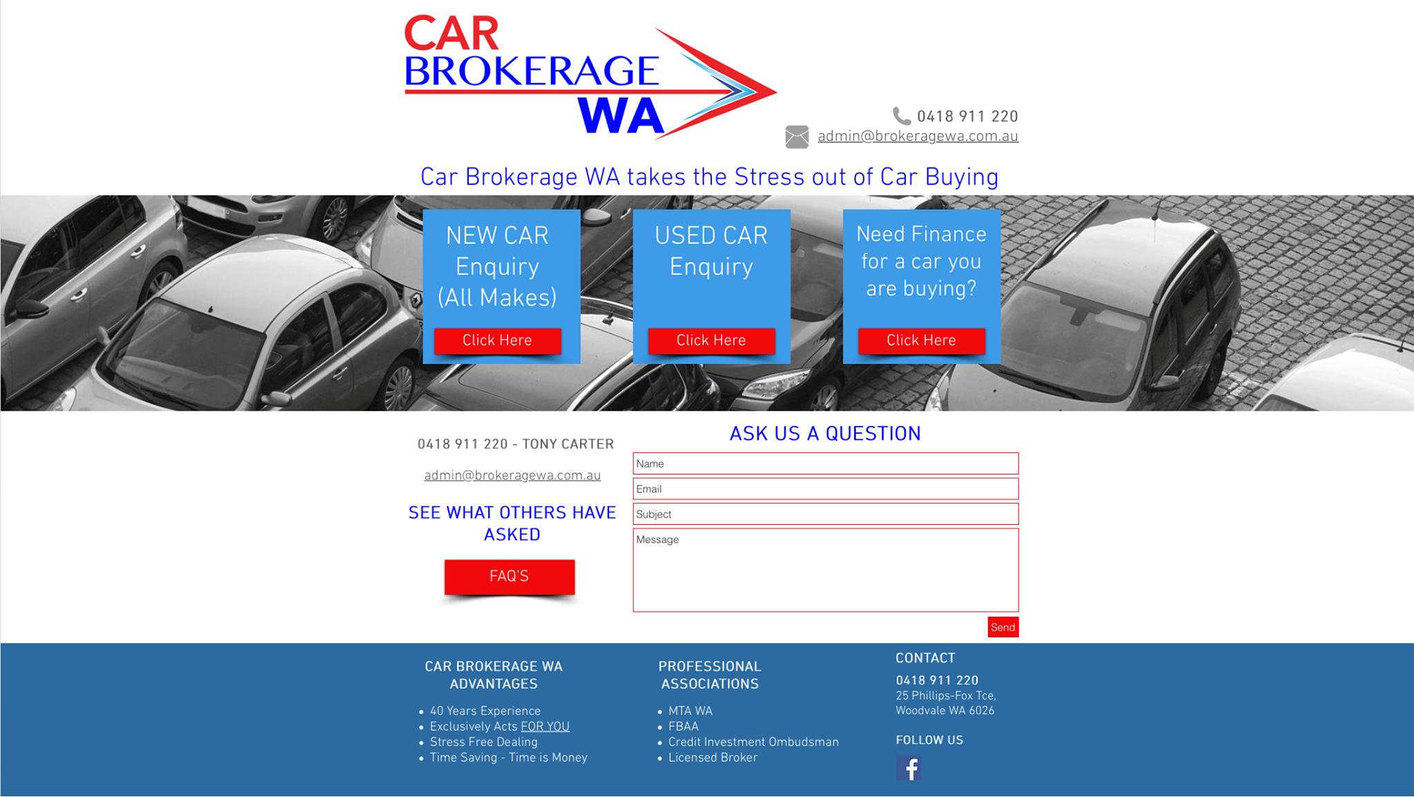 Car Brokerage WA Landing Page
