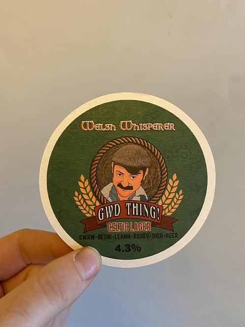 Beer mat cwrw Welsh Whisperer