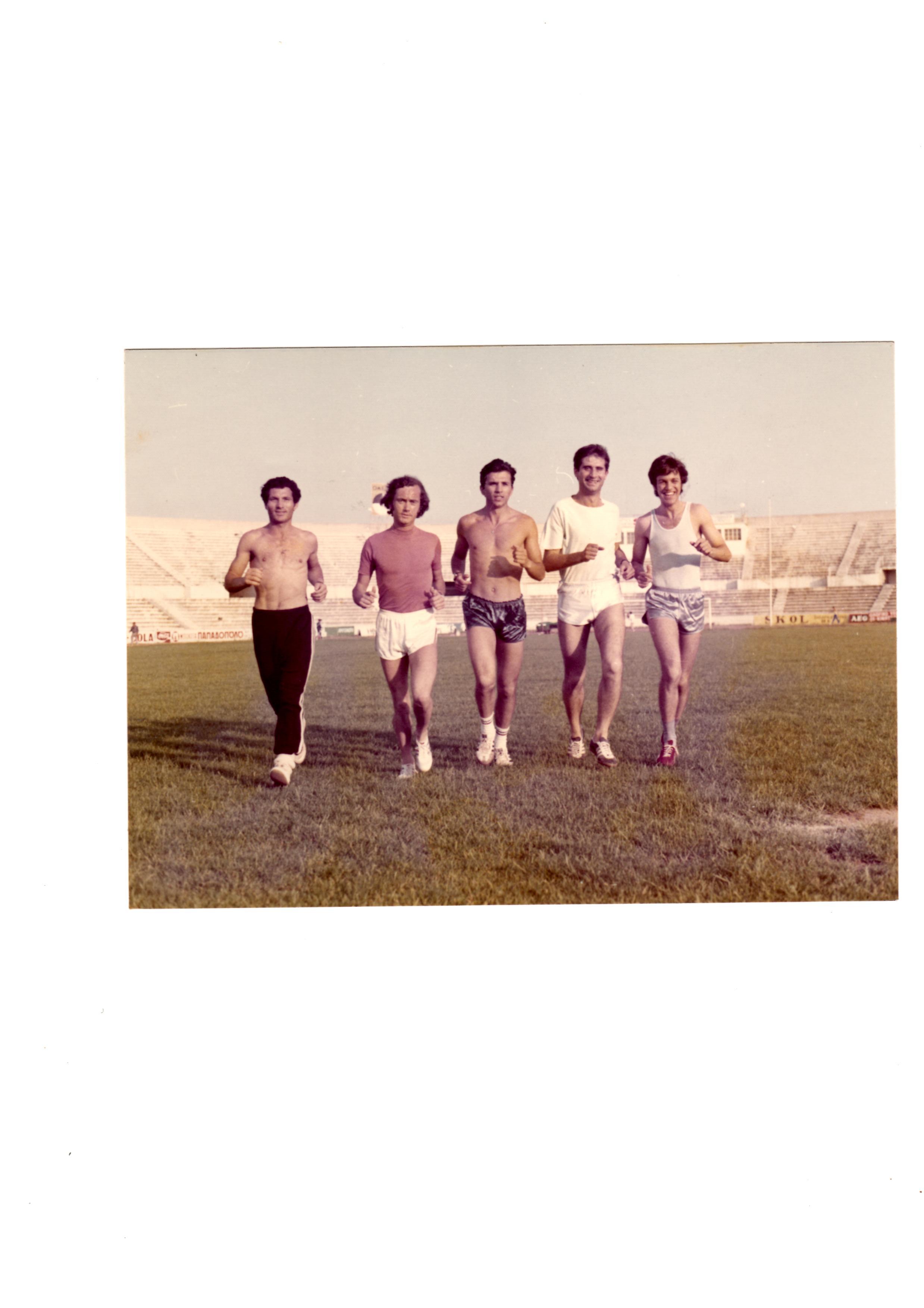 1975..Προπονηση στο Καυταντζογλειο με Σ.Κελλη, Σ.Παγκαλο, Γ.Τσιντζιλη