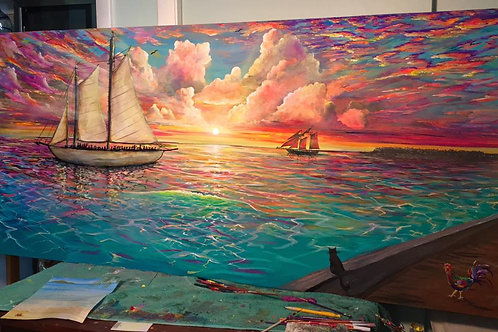 "Original Painting similar to: ""Mallory Sunset"" Acrylic/7'x3'/Gallery Fold 2'"