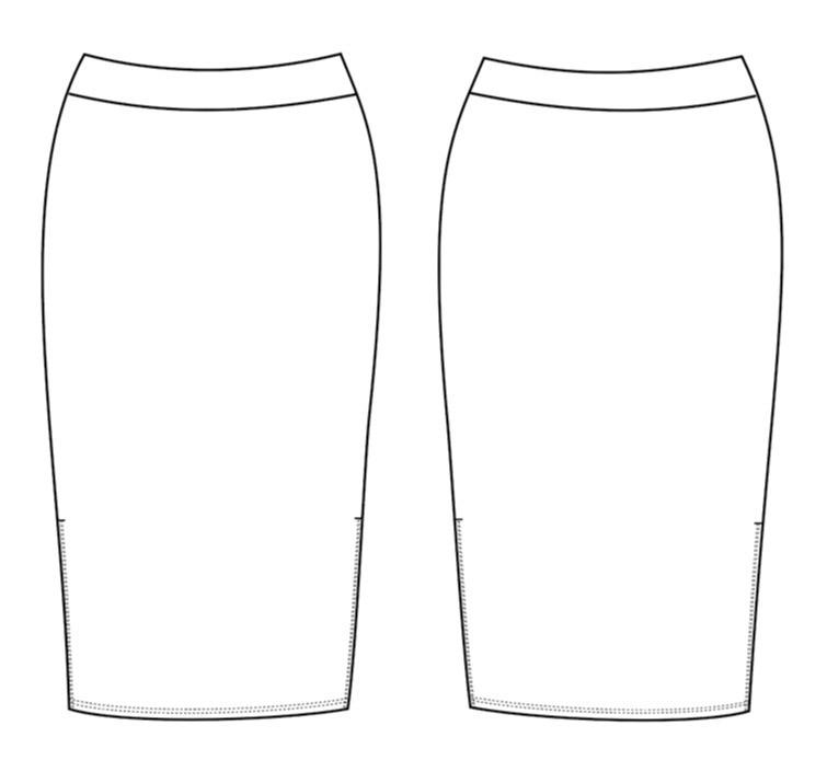 Seamwork Margo Skirt Technical Drawing