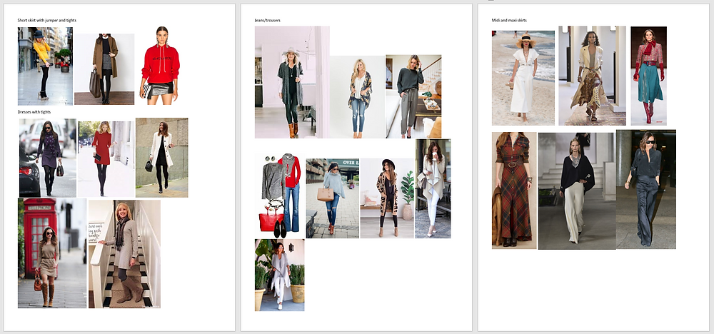 Clipped images grouped by type of outfit