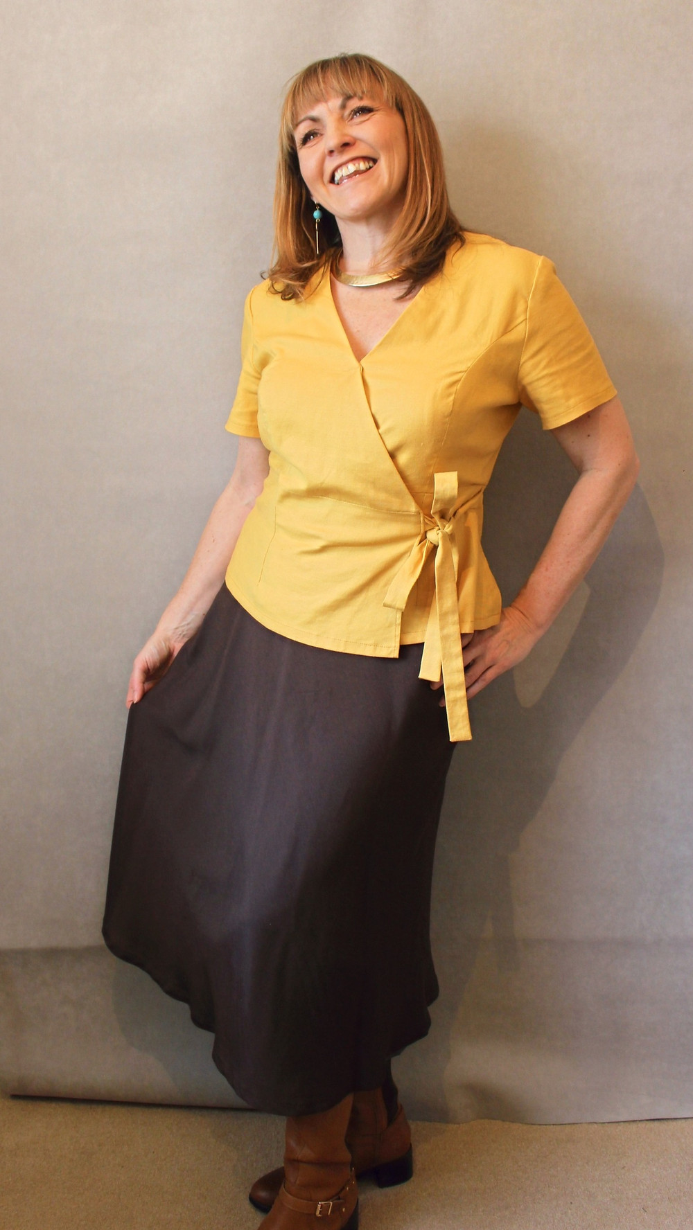 Third version of Simplicity 8735 hack top in a mustard stretch woven