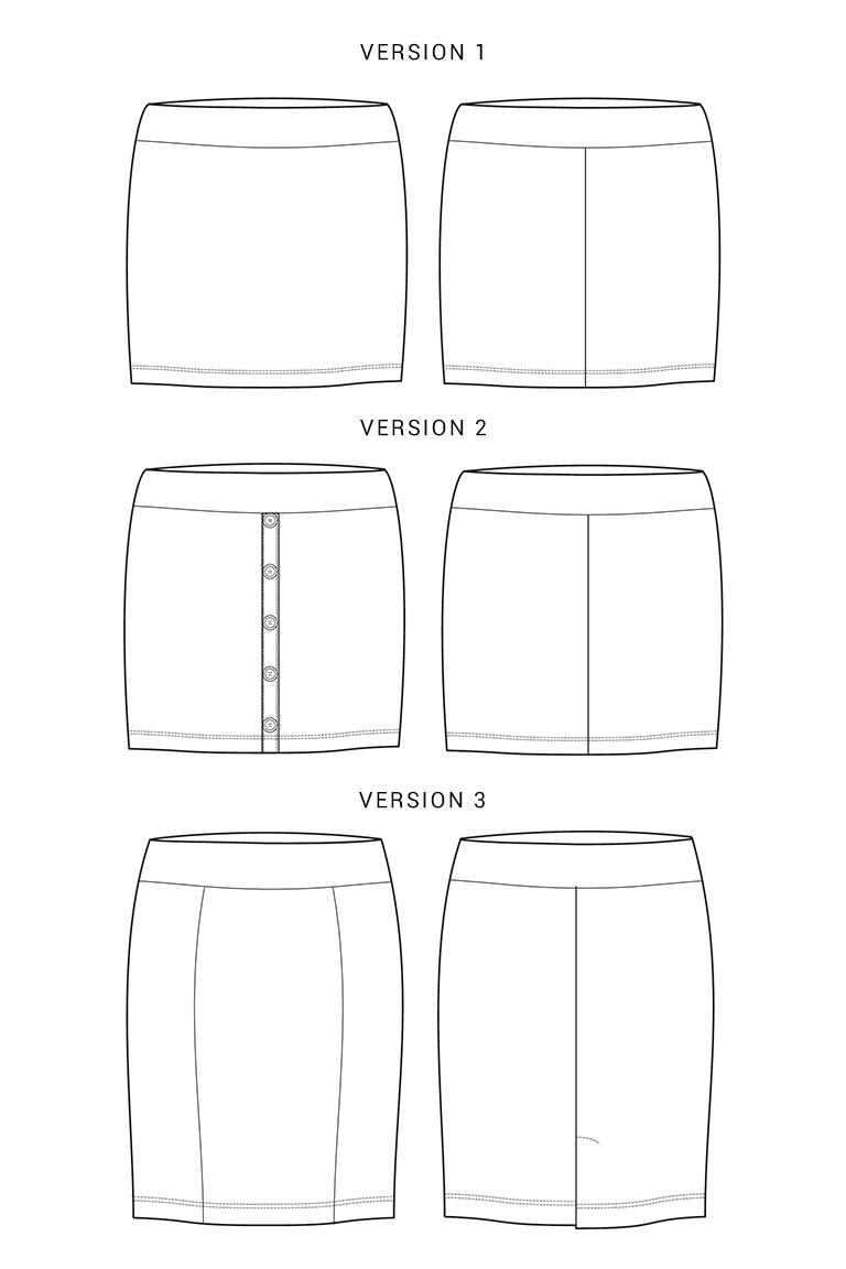 Seamwork Mabel Skirt Technical Drawing