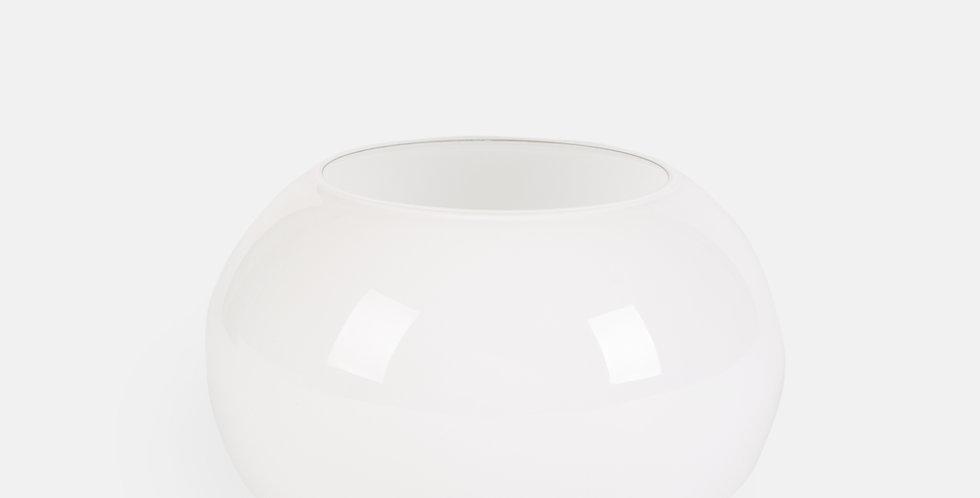 White glass fishbowl