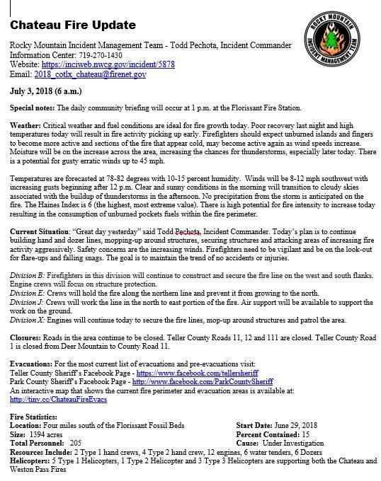 High Chateau Fire Update 07 03 18 10 00am Divide Colorado