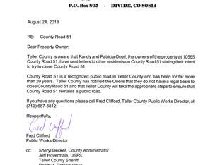 Letter Regarding Teller County Rd 1