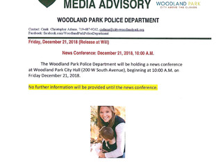 Media Advisory Woodland Park Police Department