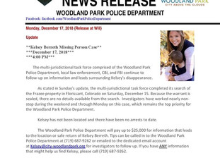 NEWS RELEASE WOODLAND PARK POLICE DEPARTMENT