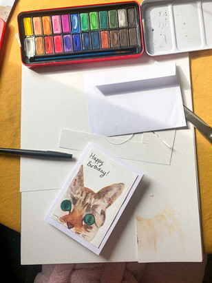 cat birthday card.