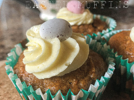 carrot cake easter muffins.