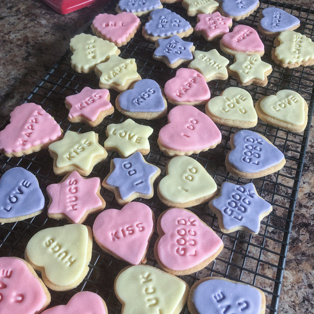 hearts and stars 'wish' biscuits.